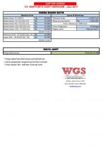 Pricelist Batik Machine Print WGS Juli 2017